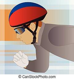 speed skater male wearing helmet for short-track skating in...