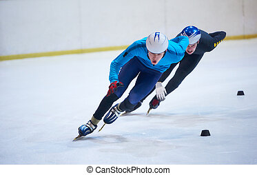 speed skating sport with young athletes
