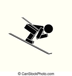 Speed skiing. Flat icon