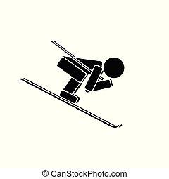 Speed skiing. Flat icon