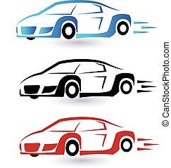 Speed sporting cars set logo