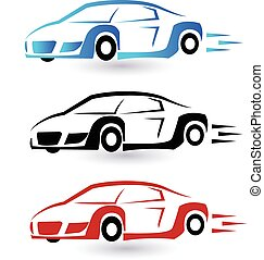 Speed sporting cars set logo