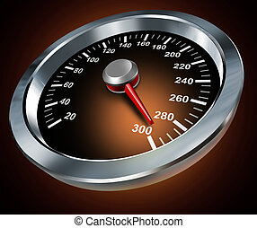 Speed symbol with a race car speedometer from a speeding red...