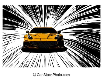 speed Super Car Vector illustration in the road - speed red...