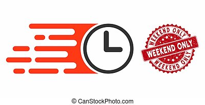 Speed Time Icon with Textured Weekend Only Stamp