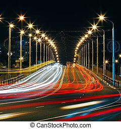 Speed Traffic - Light Trails On City Road At Night