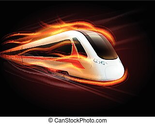 Speed Train Fire Black Background Design - Night high-speed...