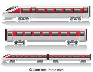 speed train locomotive and wagon vector illustration...