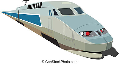 Speed train - Speed passenger train in vector isolated on ...
