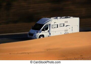speed white van on troad