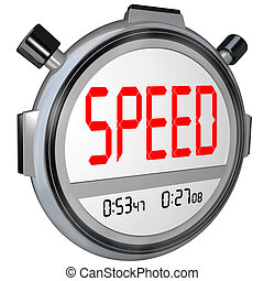 Speed Word on Stopwatch Timer Recording Race Result - A...