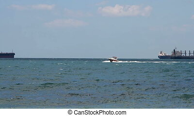 Speed yacht in open waters