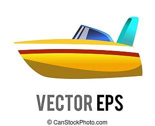 speedboat, azul, gradiente, lado, icono, ventana, roofless, amarillo, vector