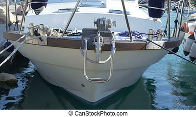 Speedboat Bow View - Speedboat bow view in the port gently...