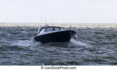 Speedboat comming in Harbour of Stavoren - Speedboat on...