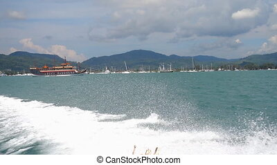 Speedboat departure from Chalong Bay, Phuket - Rear view...