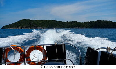 Speedboat departure from Similan Islands - Rear view from...