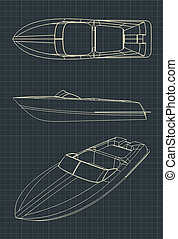 Speedboat Drawings - Stylized illustration of drawings of a ...