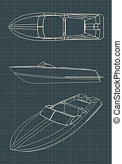 Speedboat Drawings - Stylized vector illustration of ...