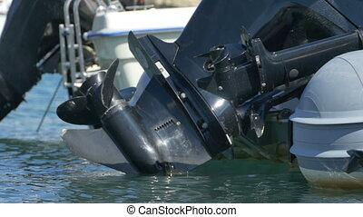 Speedboat Engine and Propeller - Harbor parked speedboat...