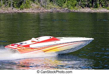 Speedboat on Lake - A speedboat on a lake - motion blut on ...