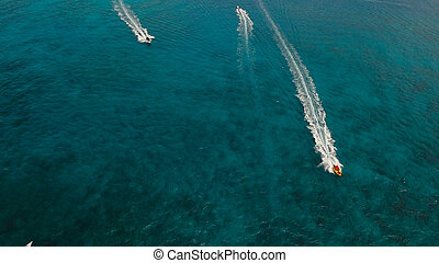 Speedboat on the sea, aerial view. Boracay island, Philippines.