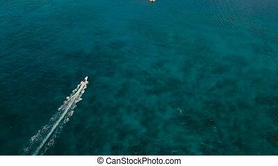 Speedboat on the sea, aerial view.Boracay island,...