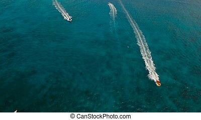Speedboat on the sea, aerial view.Boracay island, Philippines.