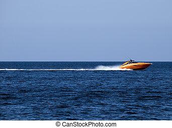 Speedboat - Orange speedboat speeding along the ...