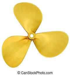 Speedboat propeller - Three-bladed boat propeller, isolated ...