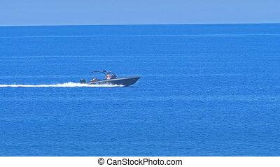 speedboat run in blue sea horizon 4k