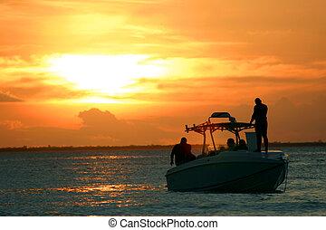 speedboat, solnedgång