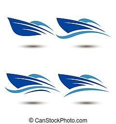 speed boat logo icon, vector illustration