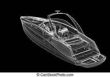 speedboat, Speeding Powerboat,3D model body structure, wire ...