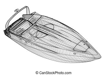 speedboat, Speeding Powerboat,3D model body structure, wire ...