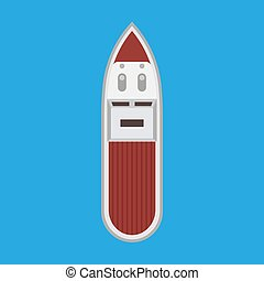Speedboat top view vector flat icon. Motor cruise marine isolated ship yacht. Blue travel sport vessel journey summer