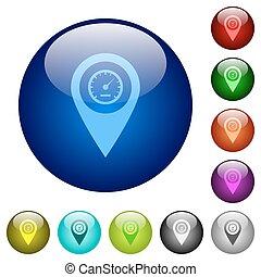 Speedcam GPS map location color glass buttons