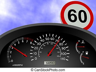 Speeding - A dashboard indicating a car speed over the limit