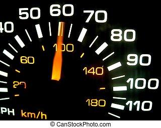 Speeding - A speedometer races past sixty.
