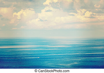 Vintage retro effect filtered hipster style travel image of speeding boat in blue sea. Andaman Sea, Thailand