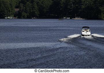 Speeding boat on a lake