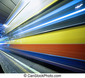 Abstract blurred motion background of moving fast bus