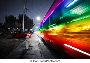 Speeding bus, blurred motion