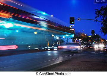 Speeding bus, blurred motion. Santa Monica Blvd., West Hollywood, USA