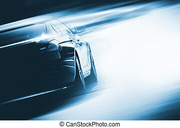 Speeding Car Background Photo Concept. Vehicle on a Road....