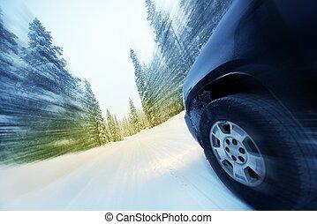 Speeding Car in Winter - Speeding Car on Countryside Winter...