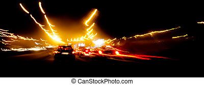 Speeding car on highway - Driving car very fast in the...