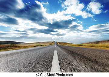Speeding - Country Road with Motion Blur