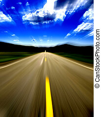Speeding Down Road - Speeding down a lonely country road