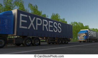 Speeding freight semi trucks with EXPRESS caption on the trailer. Road cargo transportation. Seamless loop 4K clip